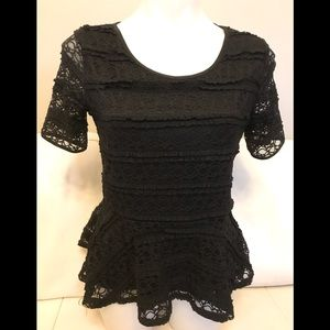Style & Co Petite Black Lace Overlay Lined Top